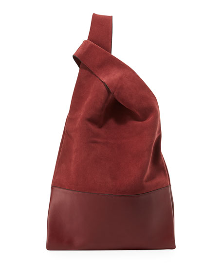 Suede & Leather Shopper Tote Bag