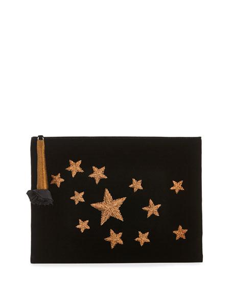 Stella Star-Embroidered Velvet Clutch Bag