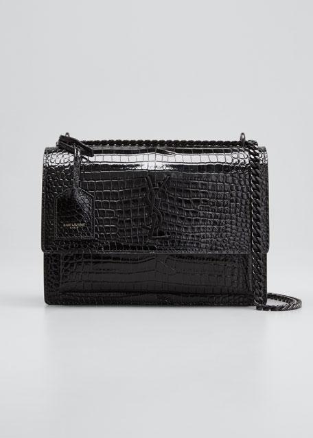 Saint Laurent Sunset Medium Monogram Croc-Embossed Shoulder Bag