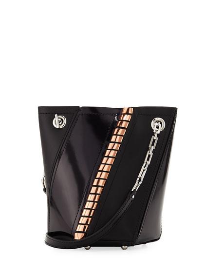 Hex Mini Metallic Whipstitch Bucket Bag