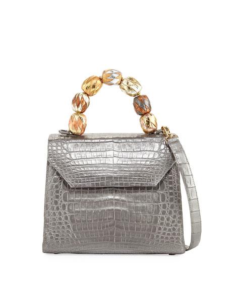 Medium Beaded Top-Handle Crocodile Bag