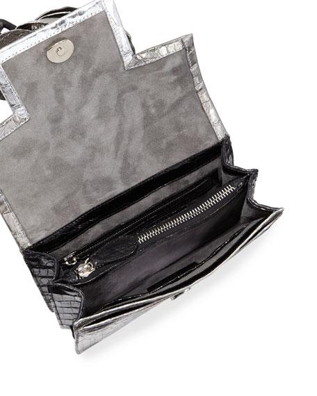 Metallic Rose Crocodile Shoulder Bag