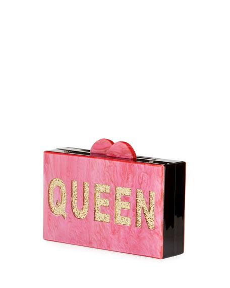 Girls' Drama/Queen Glittered Acrylic Box Clutch Bag