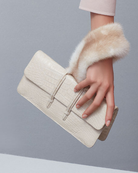 Mink-Trim Crocodile Clutch Bag