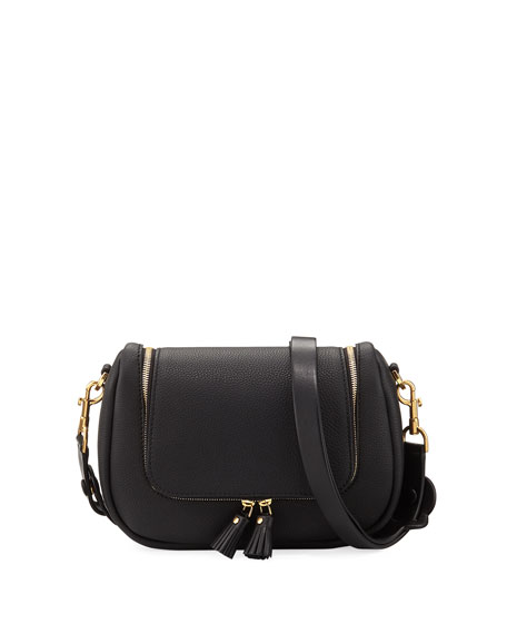 Small Vere Leather Crossbody Satchel - Black