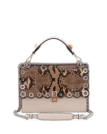 Kan I Regular Python and Calf Shoulder Bag