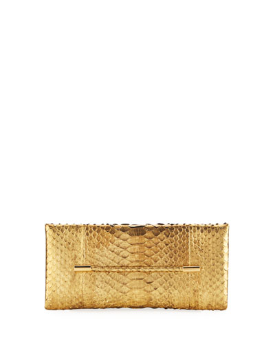 Cosmo Metallic Python Clutch Bag, Gold