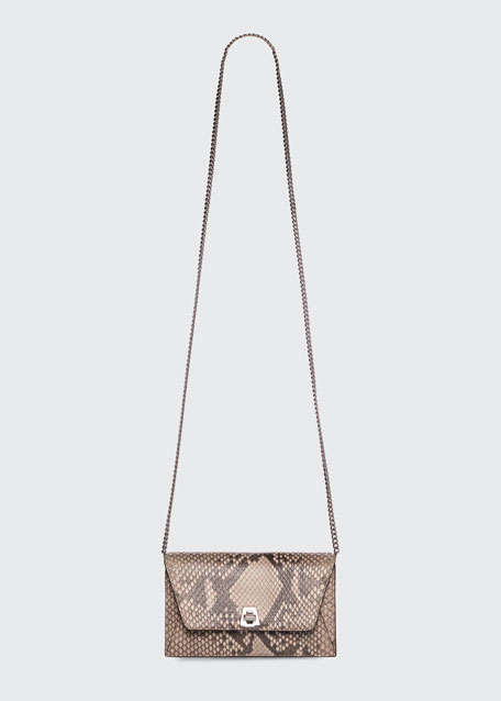 Anouk Python Envelope Clutch Bag