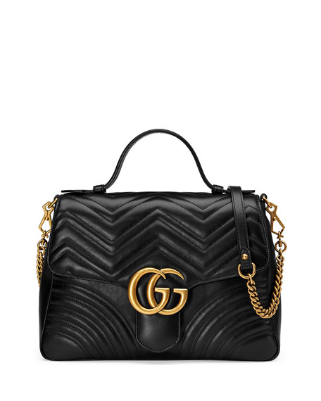 48c81752e74b Gucci GG Marmont Medium Chevron Quilted Top-Handle Bag with Chain Strap
