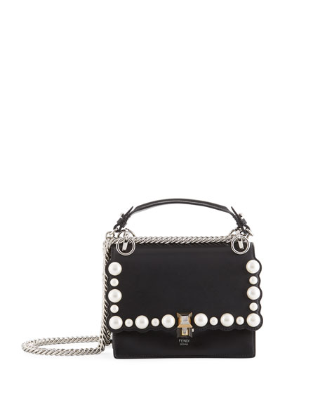 Kan I Small Pearly-Studded Leather Shoulder Bag