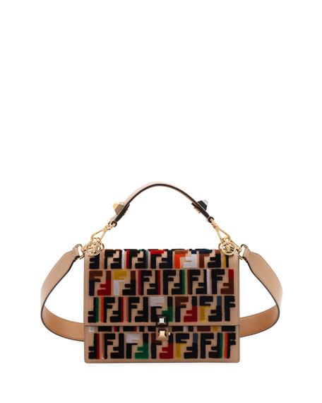 Fendi Kan I Calf Leather Shoulder Bag with FF Embroidery 78c36c26a3a06