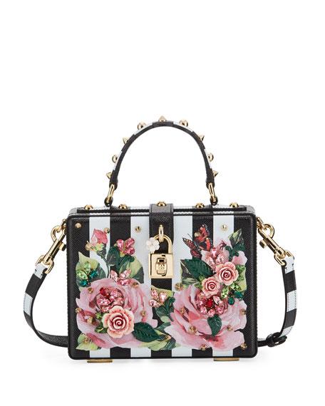 3f2fdf3e8a1 Dolce & Gabbana Dolce Stripe Box Bag with Roses