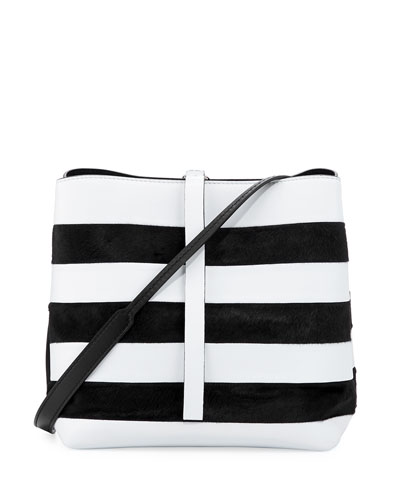 Frame Striped Leather & Calf Hair Shoulder Bag