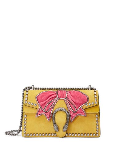 Dionysus Small Suede Shoulder Bag with Bow & Crystals
