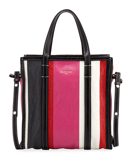 Bazar Shopper Small Striped Leather Tote Bag