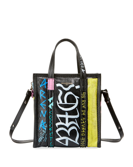 Extra Small Bazar Graffiti Lambskin Shopper - Black