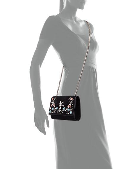 Kate Monogram Small Stone-Studded Suede Shoulder Bag