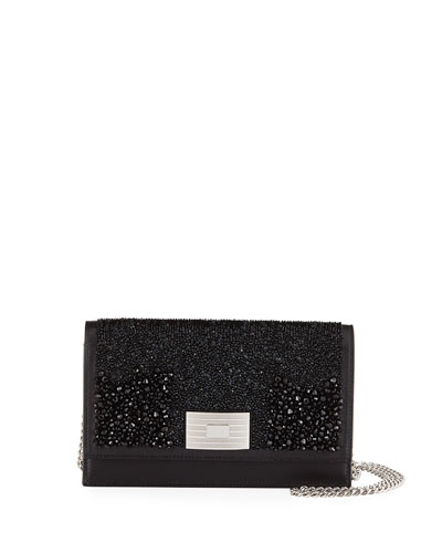 Beaded Leather Wallet on Chain