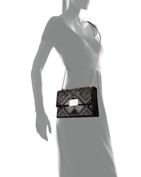 Geometric Beaded Suede Chain Shoulder Bag