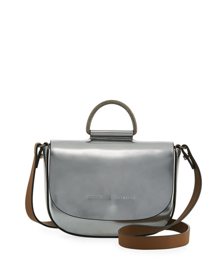 Mirror Leather Top-Handle Bag