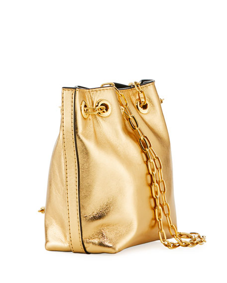 Mini Metallic Leather Bucket Bag