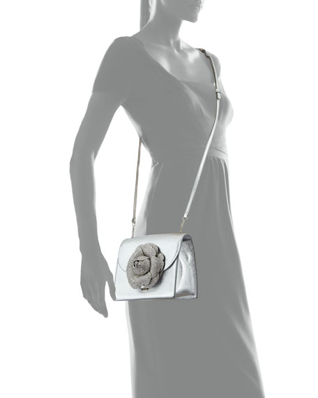 Mini Gardenia Metallic Leather Crossbody Bag