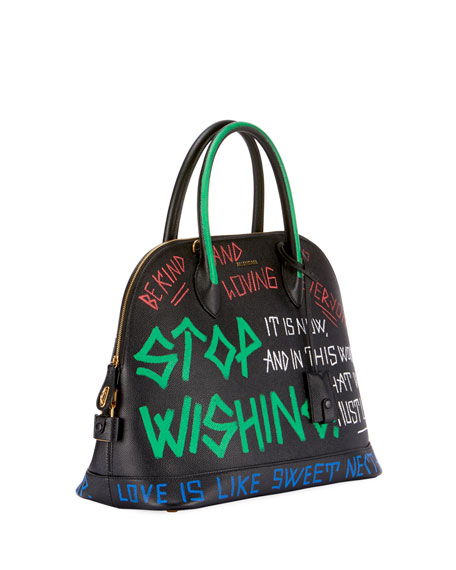 Small Graffiti Leather Top Handle Bag