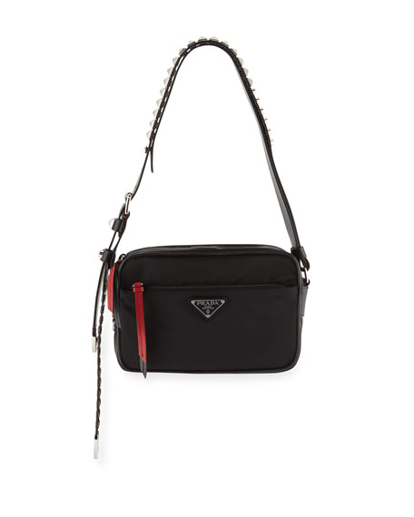 cd9b8536a564 Prada Prada Nylon Shoulder Bag with Studding