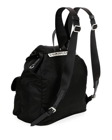 Prada Black Nylon Backpack with Studding