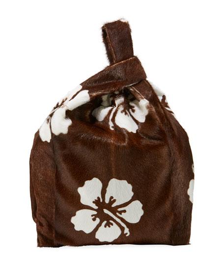 Furrissima Hibiscus Calf Hair Shopper Tote Bag