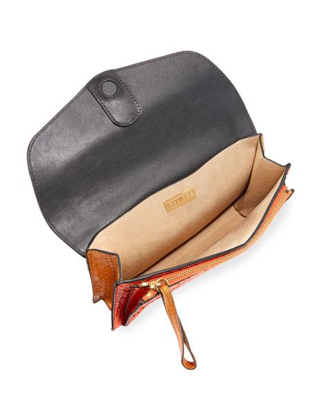 Bobby Shiny Python Envelope Clutch Bag