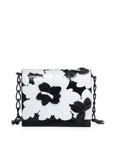 Laser-Cut Floral Crocodile Shoulder Bag