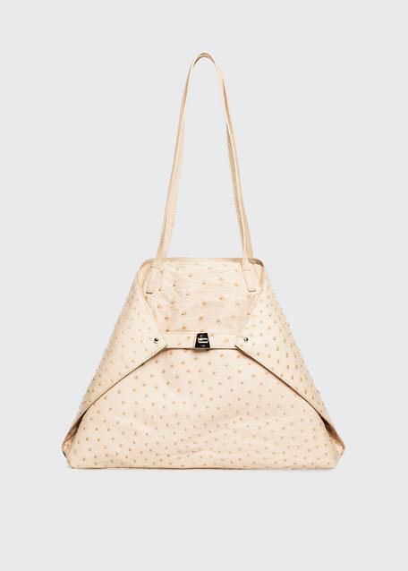 AI Medium Soft Ostrich Shoulder Bag