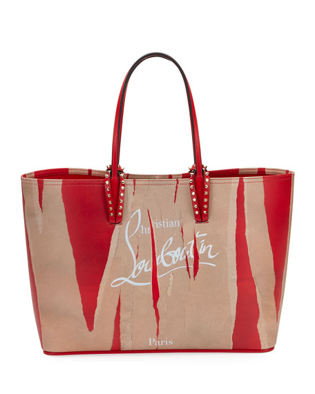 Christian Louboutian Cabata Loubi Kraft Leather Tote - Brown, Brown/Red