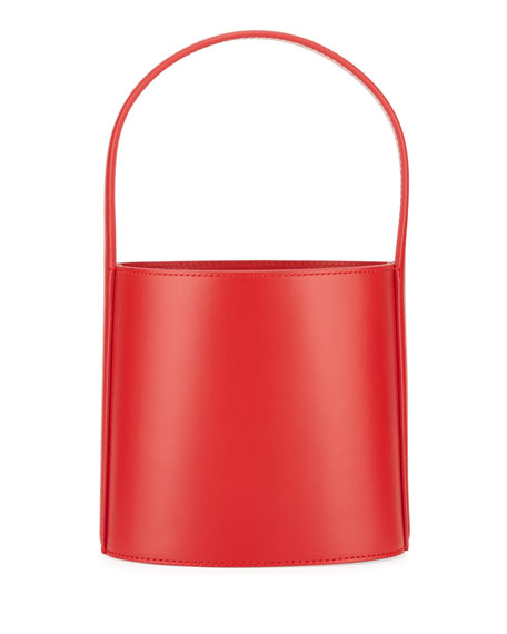 BISSETT SMOOTH LEATHER TOP-HANDLE BUCKET BAG - RED