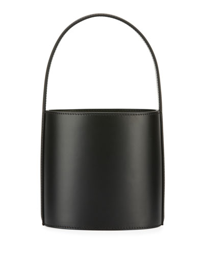 Leather Bisset Smooth Top Handle Bag, Noir