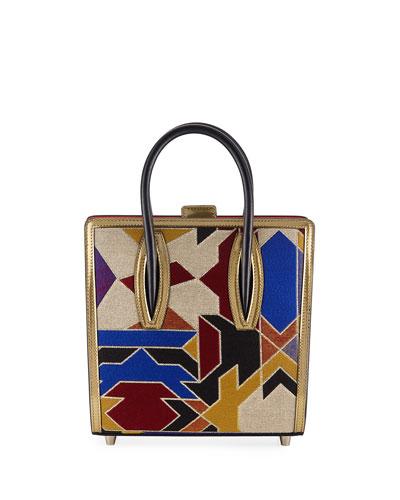 Paloma Small Tissu Geometrique Suede Tote Bag
