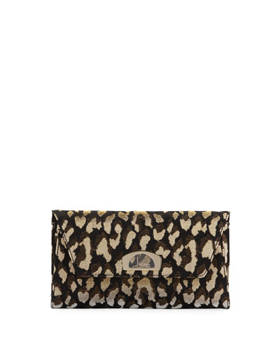 Vero Dodat Metallic Leopard-Print Clutch Bag