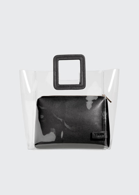 Shirley Clear PVC and Leather Tote Bag