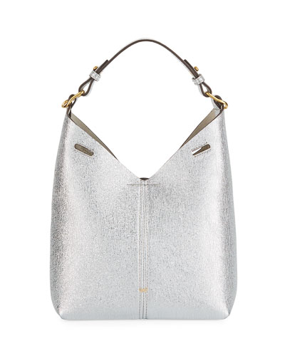 Build A Bag Mini Crinkled Metallic Hobo Bag, Silver