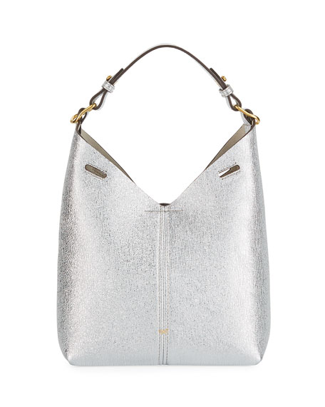 Build A Bag Mini Crinkled Metallic Hobo Bag, Silver