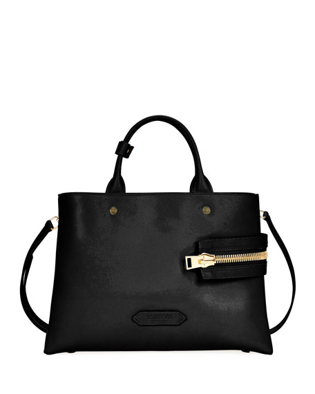 Leather Big Zip Satchel Bag