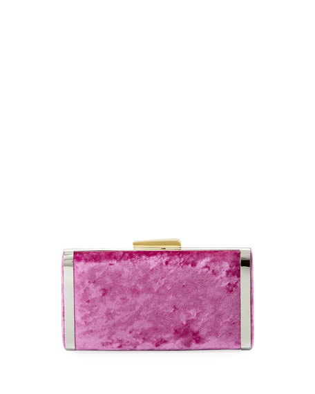 HAYWARD LONG BOX CRUSHED VELVET CLUTCH BAG