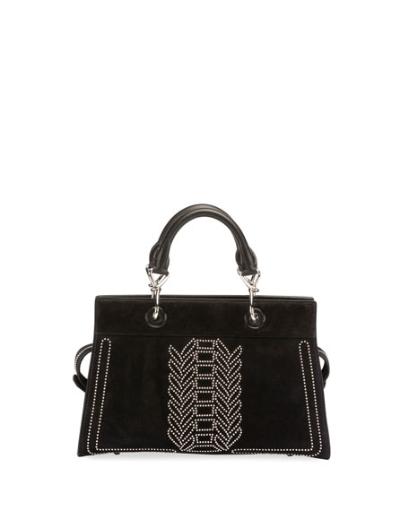 Image 1 of 1: Shadow Suede Studded Tote Bag