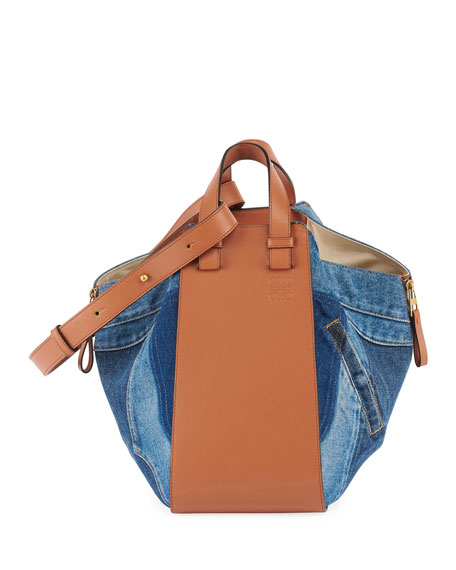 Small Hammock Tri-Tone Denim & Leather Hobo - Blue in 6386 Multi