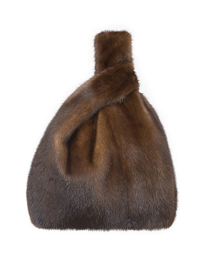 Furrissima Mink Fur Shopper Tote Bag  Brown