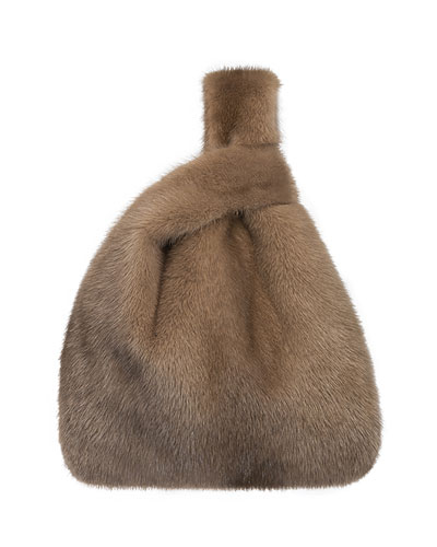 Furrissima Mink Fur Shopper Tote Bag  Cognac