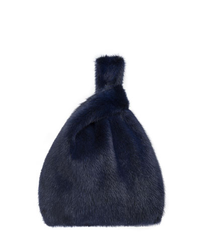 Furrissima Mink Fur Shopper Tote Bag  Royal Blue