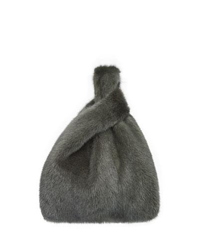 Furrissima Mink Fur Shopper Tote Bag  Old Green