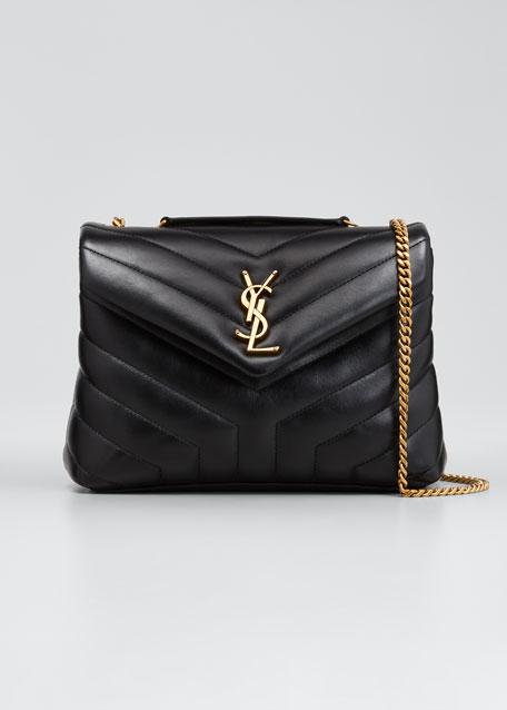 5d9f49af0e Saint Laurent Loulou Monogram YSL Small V-Flap Chain Shoulder Bag - Lt.  Bronze Hardware